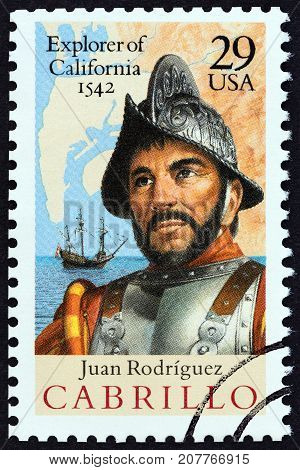 USA - CIRCA 1992: A stamp printed in USA issued for the 450th anniversary of discovery of California by Juan Rodriguez Cabrillo shows Spanish Galleon, Map and Cabrillo, circa 1992.