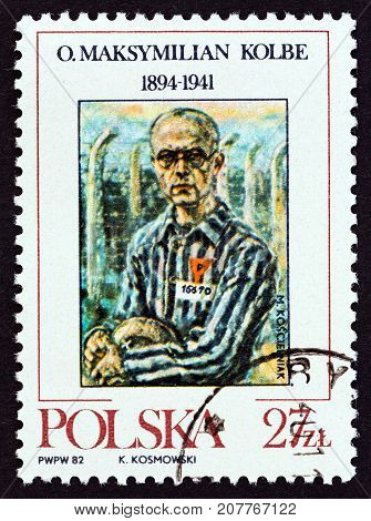 POLAND - CIRCA 1982: A stamp printed in Poland issued for the Sanctification of Maximilian Kolbe (Franciscan concentration camp victim) shows Maximilian Kolbe (after M. Koscielniak), circa 1982.