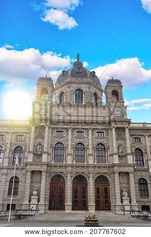 September 2017 VIENNA AUSTRIA: Panoramic view of Museum of Fine Arts history in Vienna Austria