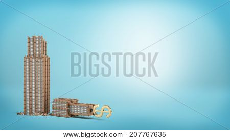 3d rendering of a tall business building with a golden dollar sign on the top stands broken in half on blue background. Business building. Danger to large corporations. Loss of big company.