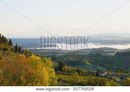 A September morning in the vicinity of the San Gimignano sity. Italy