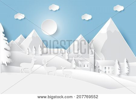 Happiness lifestyle peaceful in countryside village background paper art style illustration