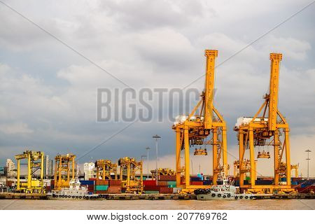 Shipping industrial trade port. Crane bridge and import export container at shipping port harbor. Logistics industrial and transportation business concept