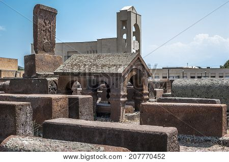 Armenia. Ancient cemetery in the territory of the Etchmiadzin monastery complex.