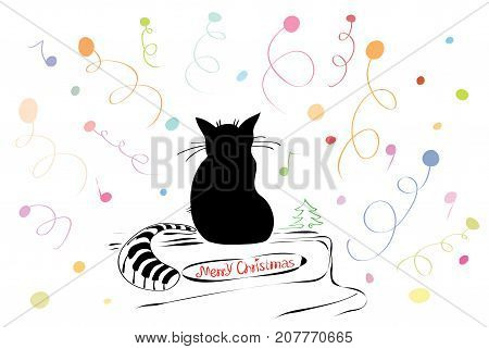 vector illustration silhouette of a cat on the piano surrounded by fireworks / Merry Christmas tunes