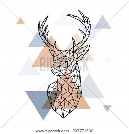 Geometric head of the Scandinavian deer. Polygonal style. Scandinavian style.