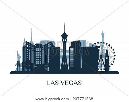 Las Vegas skyline monochrome silhouette. Vector illustration.