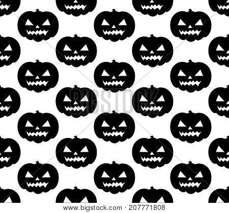 Halloween pumpkin seamless pattern. Scary black silhouette repeating texture, endless background. Vetor illustrationn