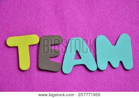 word team on a  abstract  colored background
