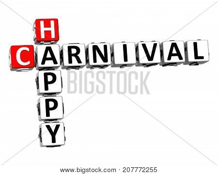 3D Happy Carnival Crossword Over White Background.