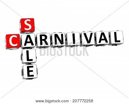 3D Sale Carnival Crossword Over White Background.
