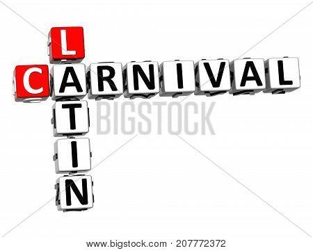 3D Latin Carnival Crossword Over White Background.