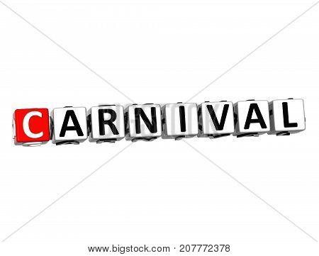 3D red Carnival Crossword over white background.