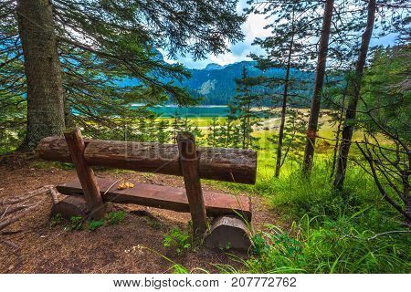 A wooden bench in front of a forest lake. Black Lake. Durmitor National Park. Montenegro.