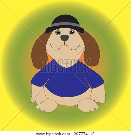 A dog in a hat in a blue blouse with big ears isolated gradient background.