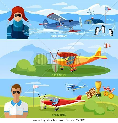 Flight on biplane bannerscompetitions of airplanes and biplanes excursion flights flying school professional pilot vector