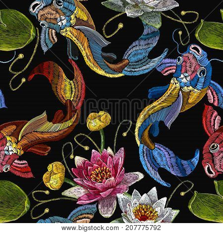 Embroidery koi fish and water lily seamless pattern. Classical embroidery koi carp pink and white lotuses and water lilies template fashionable seamless pattern clothes t-shirt design vector