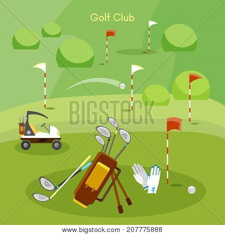 Golf club sports golfing elements. Golf sport competitions golfing set concept
