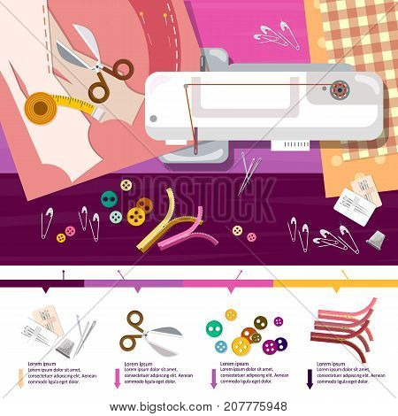 Seamstress work on sewing machine infographic elements top view professional tailoring manufacture of wearing apparel vector