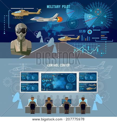 Modern military center banner. Radar screen with planes air force pilot. Modern army technology. Military plane helicopter