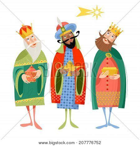 Three biblical Kings: Caspar Melchior and Balthazar. Three wise men. Vector illustration.