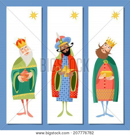 Set of 3 universal Christmas greeting cards and bookmarks with three biblical Kings: Caspar Melchior and Balthazar. Three wise men. Template. Vector illustration.