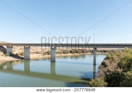 The new bridge over the Vaal River at Barkly West a town in the Northern Cape Province of South Africa