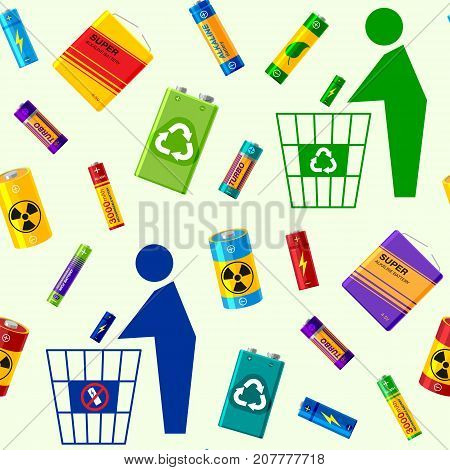 Battery utilization concept recycling energy power environment alkaline batteries heap seamless pattern background vector illustration. Rubbish bin recharge renewable waste sorting.