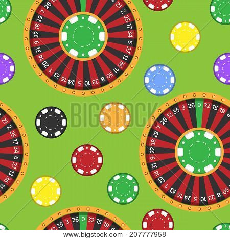 Casino fortune wheel roulette gambling game chips seamless pattern background vector illustration for print textile paper. Gaming jackpot lucky entertainment.