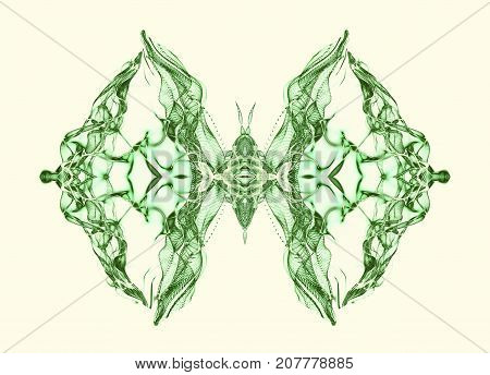 Abstract conceptual design. Green butterfly over soft light background
