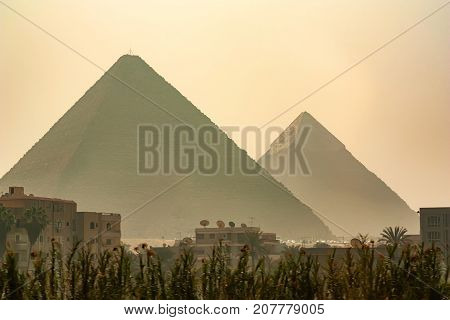 Beautiful view of the Great Pyramids of Giza from the city, Egypt