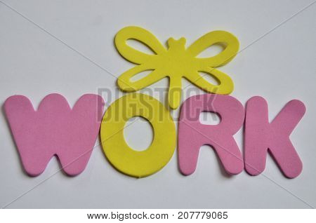word work on a  abstract white background