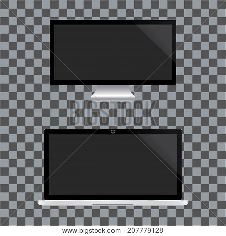 Realistic TV and notebook screen. Black monitor display on a transparent background. Vector illustration.