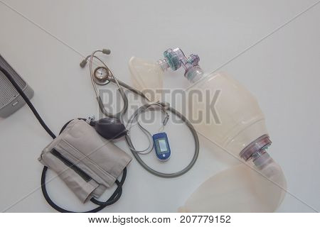 Set Medical equipment on a white background .