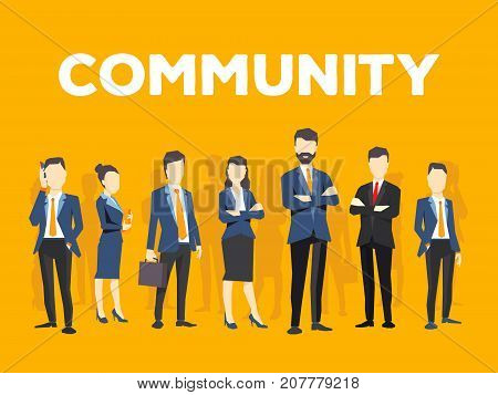 Vector Creative Illustration Of Business People On Yellow Background. Office Employees Community. Co