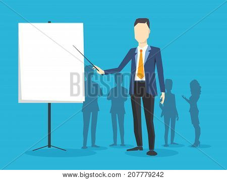 Vector Creative Illustration Of Business Man With A White Board On Blue Background. Manager Points T