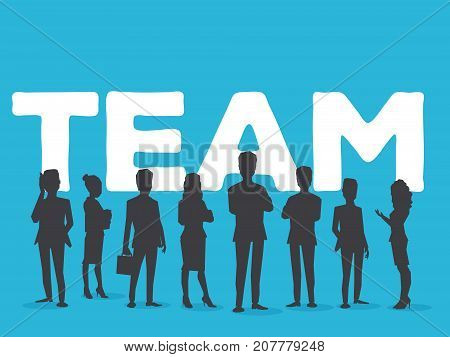 Vector Creative Illustration Of Business Team. Office Staff Teamwork. Silhouettes Of People And Team