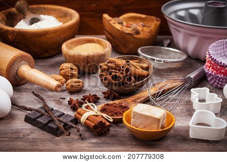 Assorted baking ingredients and kitchen utensil for cake or cookies