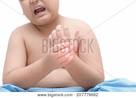 Boy Suffering From Pain In Hand Isolated