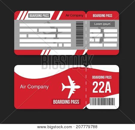 Travel concept airplane tickets Isolated on black background. Vector illustration