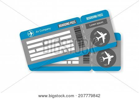Travel concept airplane tickets Isolated on white background. Vector illustration