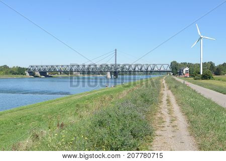 Bridge Over The Rhine River In Karlsruhe W Rth