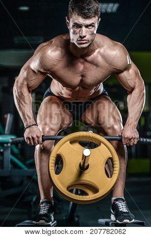Brutal Caucasian Bodybuilder Working Out In Gym