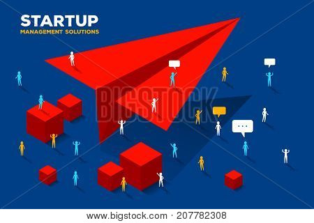 Vector Creative Business Illustration. Launch Paper Air Plane Concept On Blue Background. Group Of P