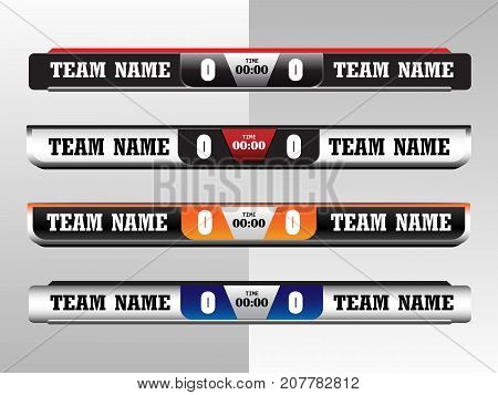Scoreboard Digital Screeen Graphic Template for Broadcasting of soccer football or futsal illustration vector design template for soccer league match