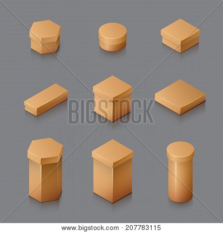 Set of Isometric carton packaging box. 3D realistic icons. Vector illustration