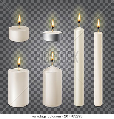 3d set realistic paraffin candles isolated on transparent background. Vector illustration poster