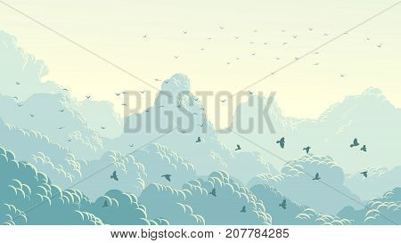 Vector horizontal abstract illustration flock birds on background of blue sky with large clouds.