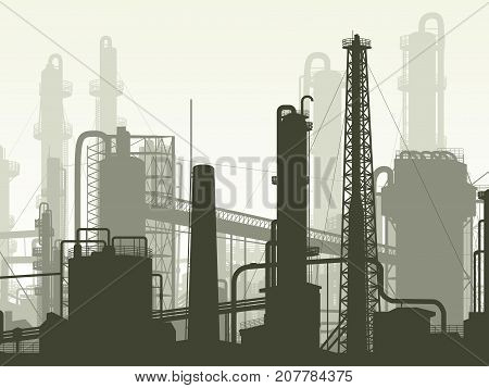 Horizontal illustration industrial part of city with factories refineries and power plants.