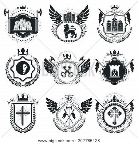 Classy emblems vector heraldic Coat of Arms. Vintage design elements collection.